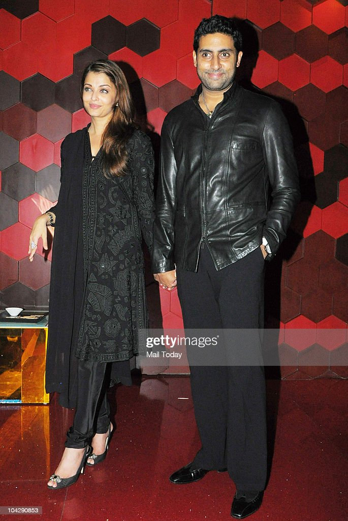 Aishwarya Rai and Abhishek Bachchan at actress Shabana Azmi`s birthday party in Mumbai on September 18 2010