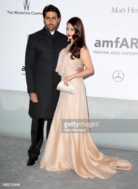 Aishwarya Rai and Abhishek Bachchan attend amfAR's 21st Cinema Against AIDS Gala Presented By WORLDVIEW BOLD FILMS And BVLGARI at the 67th Annual...