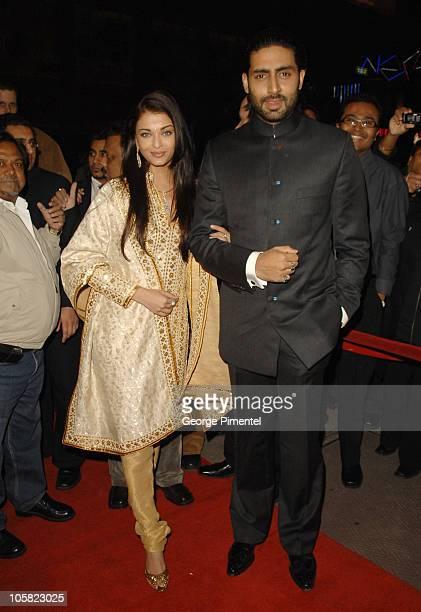Aishwarya Rai and Abhishek Bachchan during World Premiere of 'Guru' in Toronto at Elgin Theatre in Toronto Ontario Canada