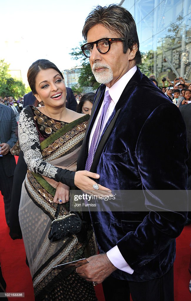 Aishwarya Rai and Amitabh Bachchan arrives at the London premiere of `Raavan` at BFI Southbank on June 16 2010 in London England