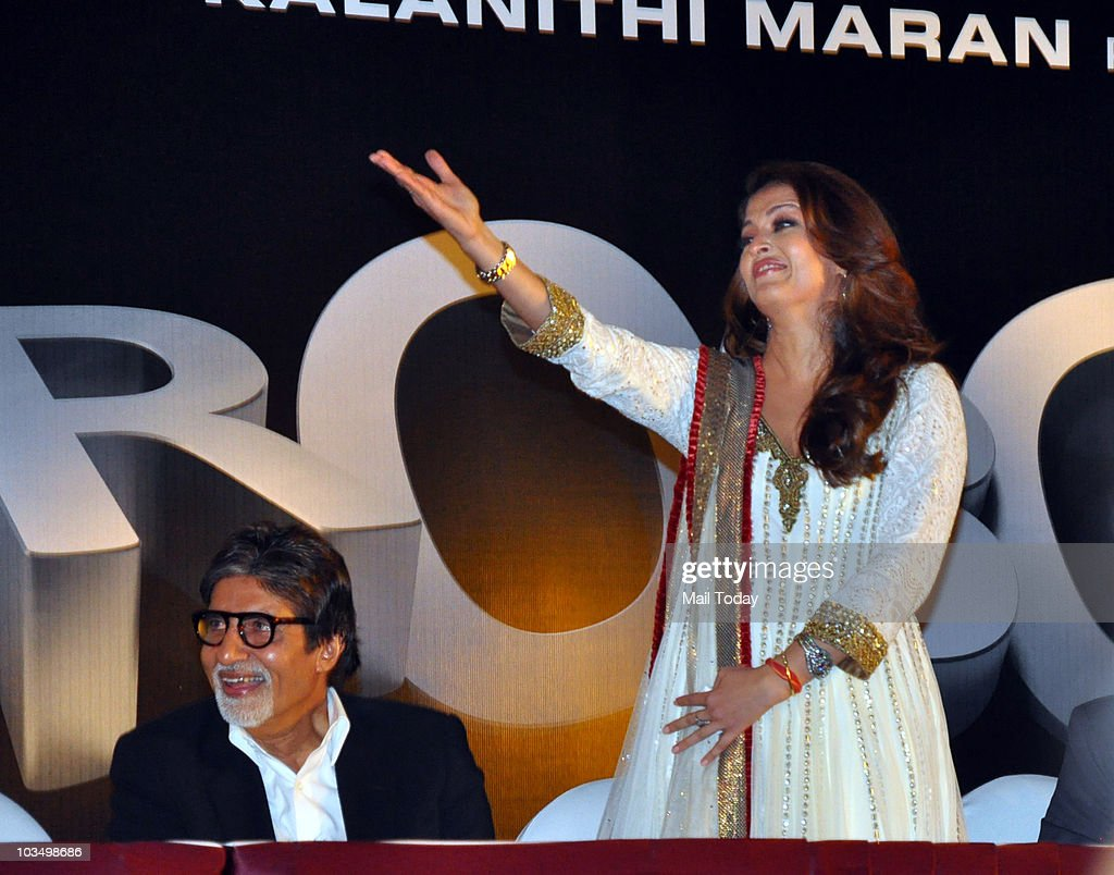 Aishwarya Rai and Amitabh Bachchan during the music launch of the film `Robot` in Mumbai on August 14 2010