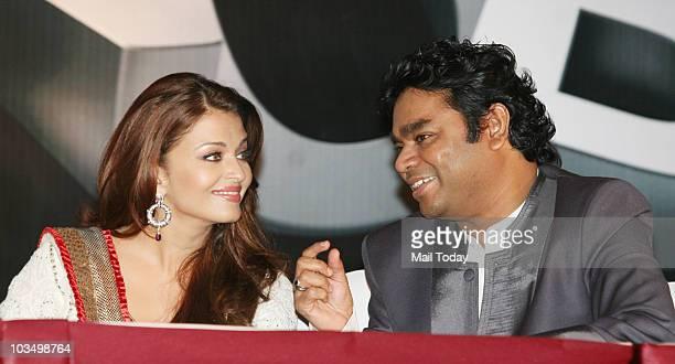 Aishwarya Rai and AR Rahman during the music launch of the film 'Robot' in Mumbai on August 14 2010