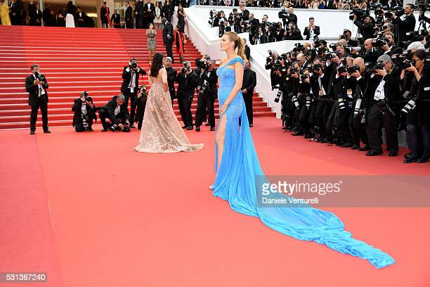 Aishwarya Rai and Blake Lively attend 'The BFG ' premiere during the 69th annual Cannes Film Festival at the Palais des Festivals on May 14 2016 in...