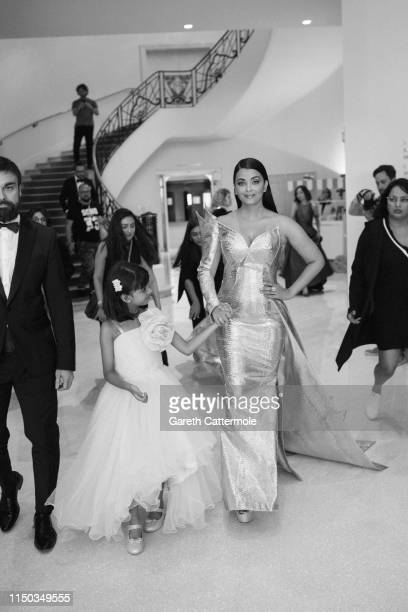 Aishwarya Rai and daughter Aaradhya at the Hotel Martinez during the 72nd annual Cannes Film Festival on May 19 2019 in Cannes France