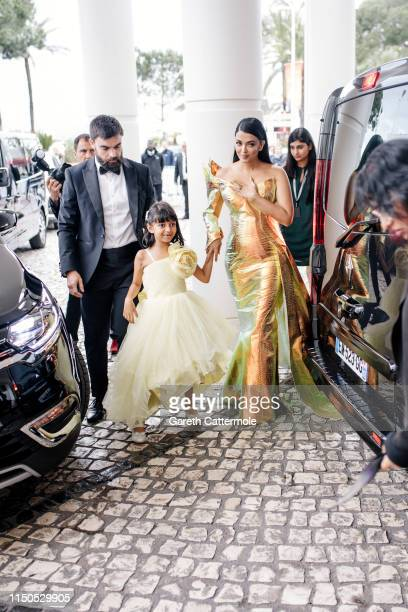 Aishwarya Rai and daughter Aaradhya at the Hotel Martinez during the 72nd annual Cannes Film Festival on May 19, 2019 in Cannes, France.