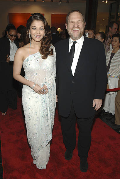 Aishwarya Rai and Harvey Weinstein during Time Magazine`s 100 Most Influential People Celebration Arrivals at Jazz at Lincoln Center in New York City.