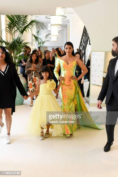 Aishwarya Rai and her daughter Aaradhya during the 72nd annual Cannes Film Festival at on May 19, 2019 in Cannes, France.