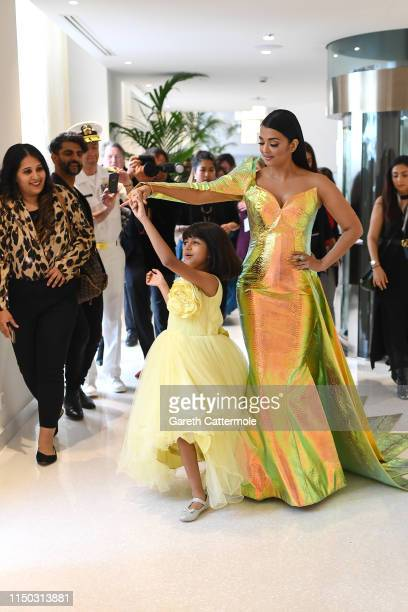 Aishwarya Rai and her daughter Aaradhya during the 72nd annual Cannes Film Festival at on May 19 2019 in Cannes France