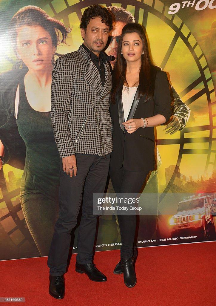 Aishwarya Rai and Irfan Khan at the trailer of their upcoming movie Jazbaa in Mumbai