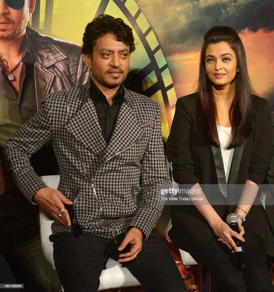 Aishwarya Rai and Irfan Khan at the trailer of their upcoming movie `Jazbaa in Mumbai