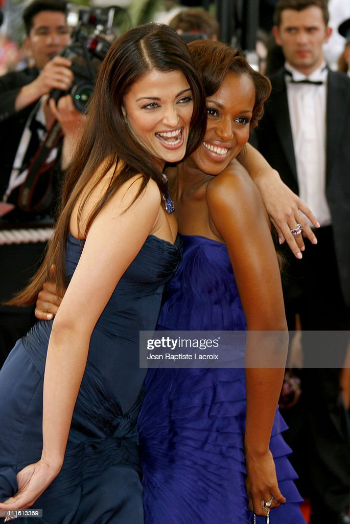 Aishwarya Rai and Kerry Washington during 2006 Cannes Film Festival 'The Wind That Shakes The Barley' Premiere at Palais Du Festival in Cannes