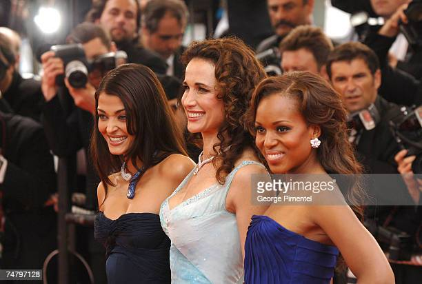 Aishwarya Rai Andie MacDowell and Kerry Washington at the Palais Du Festival in Cannes France
