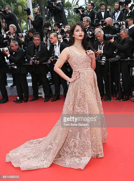 Aishwarya Rai attends a screening of The BFG at the annual 69th Cannes Film Festival at Palais des Festivals on May 14 2016 in Cannes France