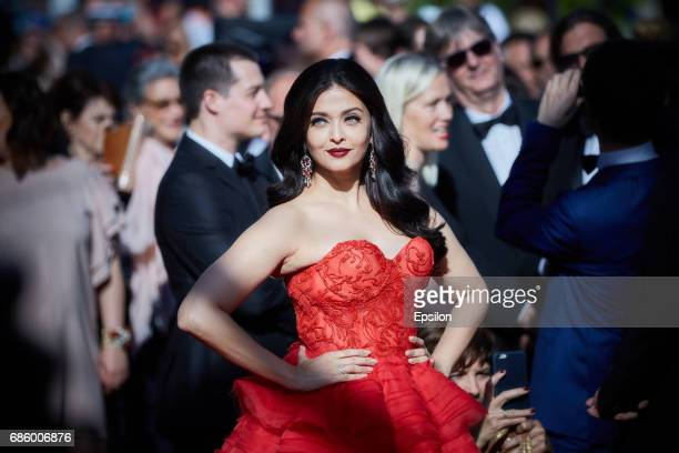 Aishwarya Rai attends attends the '120 Beats Per Minute ' screening during the 70th annual Cannes Film Festival at Palais des Festivals on May 20...
