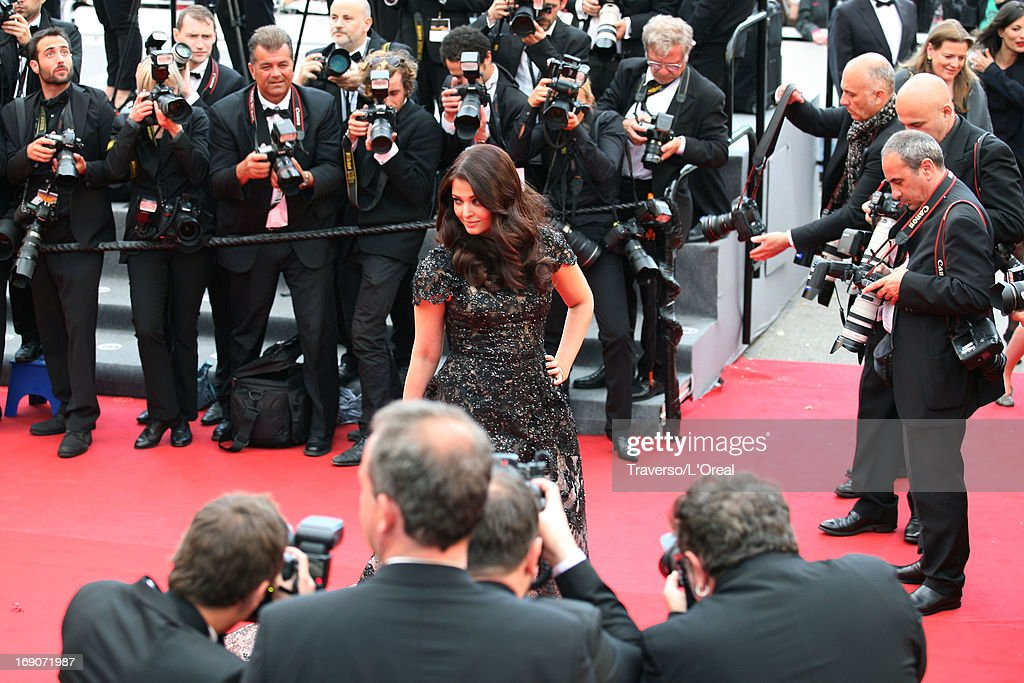 Aishwarya Rai attends `Inside Llewyn Davis` Premiere during the 66th Annual Cannes Film Festival at Palais des Festivals on May 19 2013 in Cannes...