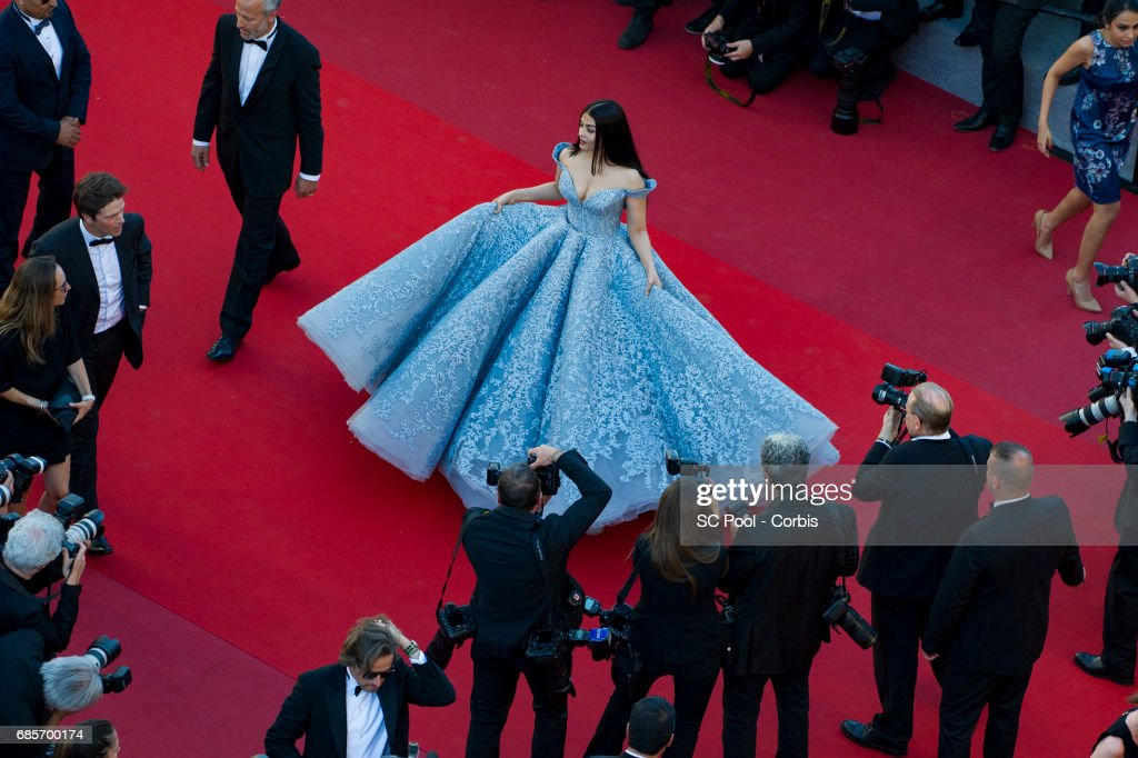 Aishwarya Rai attends the `Okja` premiere during the 70th annual Cannes Film Festival at Palais des Festivals on May 19 2017 in Cannes France