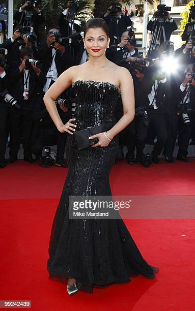 Aishwarya Rai attends the 'On Tour ' premiere at the Palais des Festivals during the 63rd International Cannes Film Festival on May 13 2010 in Cannes...