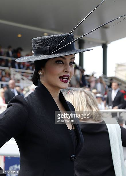 Aishwarya Rai attends the 'Prix de Diane Longines 2015' at Hippodrome de Chantilly on June 14 2015 in Chantilly France