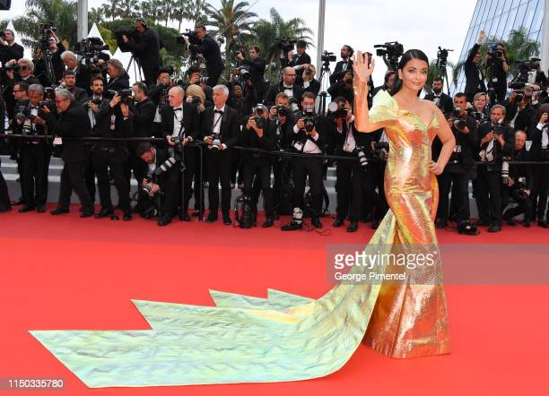 "Aishwarya Rai attends the screening of ""A Hidden Life "" during the 72nd annual Cannes Film Festival on May 19, 2019 in Cannes, France."