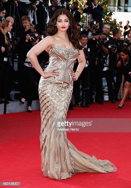 "Aishwarya Rai attends the ""Two Days, One Night"" premiere during the 67th Annual Cannes Film Festival on May 20, 2014 in Cannes, France."