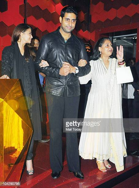 Aishwarya Rai Bachchan Abhishek Bachchan and Jaya Bachchan at actress Shabana Azmi's birthday party in Mumbai on September 18 2010