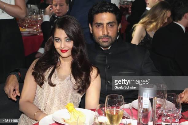Aishwarya Rai Bachchan and Abhishek Bachchan attend amfAR's 21st Cinema Against AIDS Gala Presented By WORLDVIEW BOLD FILMS And BVLGARI at Hotel du...