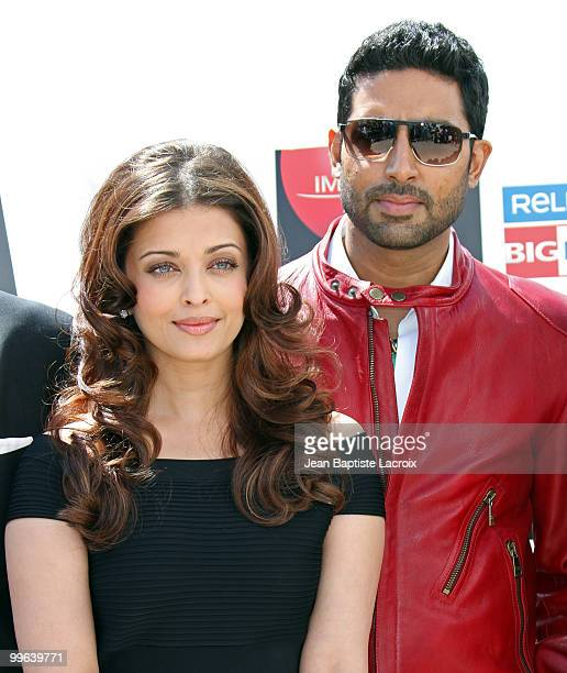 Aishwarya Rai Bachchan and Abhishek Bachchan attend the 'Raavan' Photocall at the Salon Diane at The Majestic during the 63rd Annual Cannes Film...