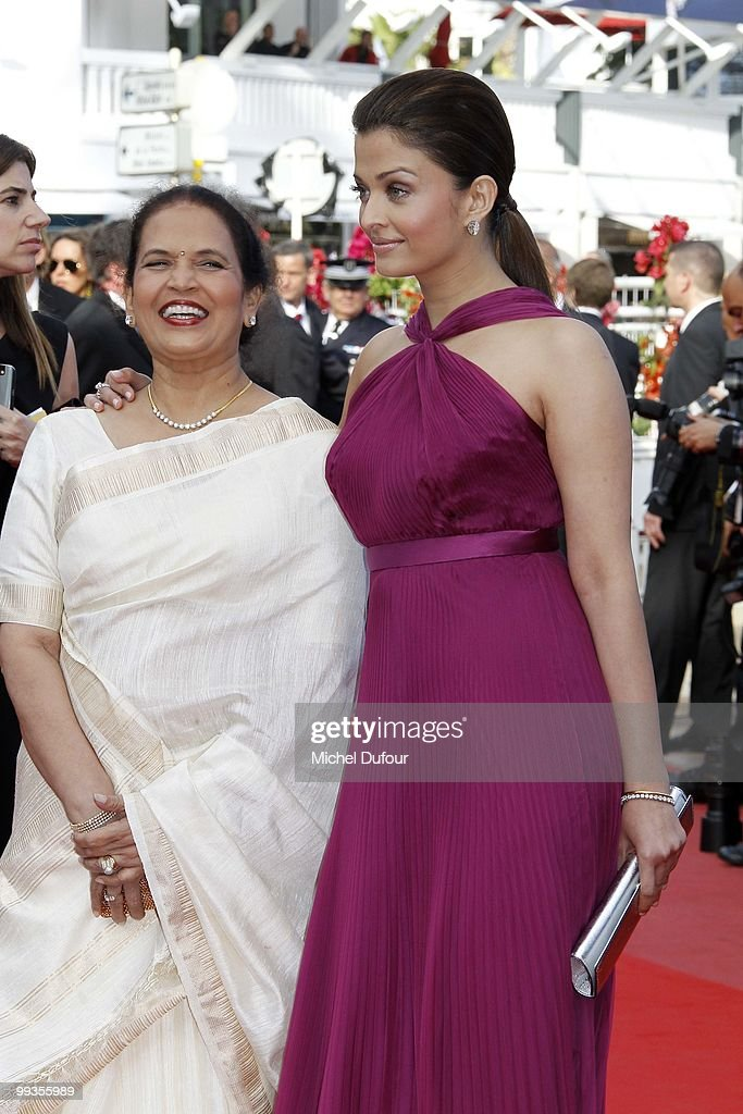 Aishwarya Rai Bachchan and her mother attends the `Wall Street Money Never Sleeps` Premiere at the Palais des Festivals during the 63rd Annual Cannes.