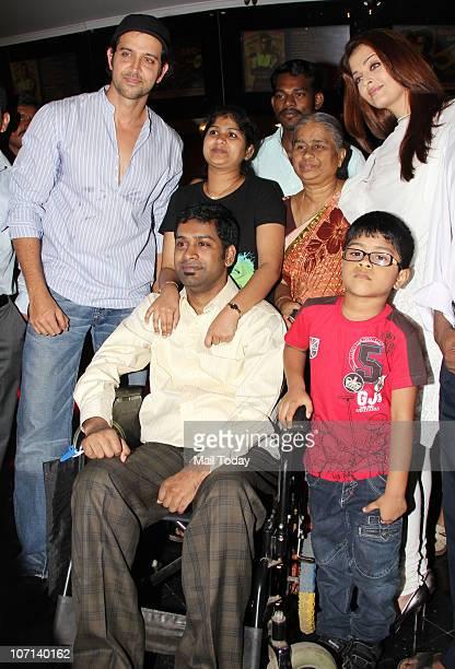 Aishwarya Rai Bachchan and Hrithik Roshan at the special screening of the film Guzarish for quadriplegics in Mumbai on November 24 2010