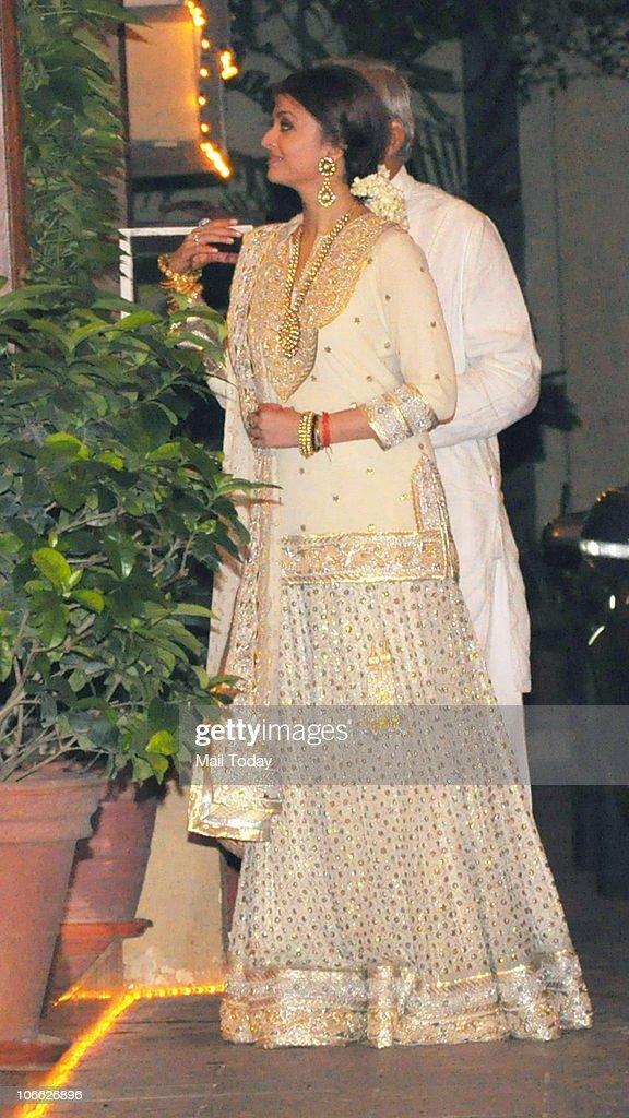 Aishwarya Rai Bachchan during Diwali celebrations at the Bachchan residence in Mumbai on November 5 2010