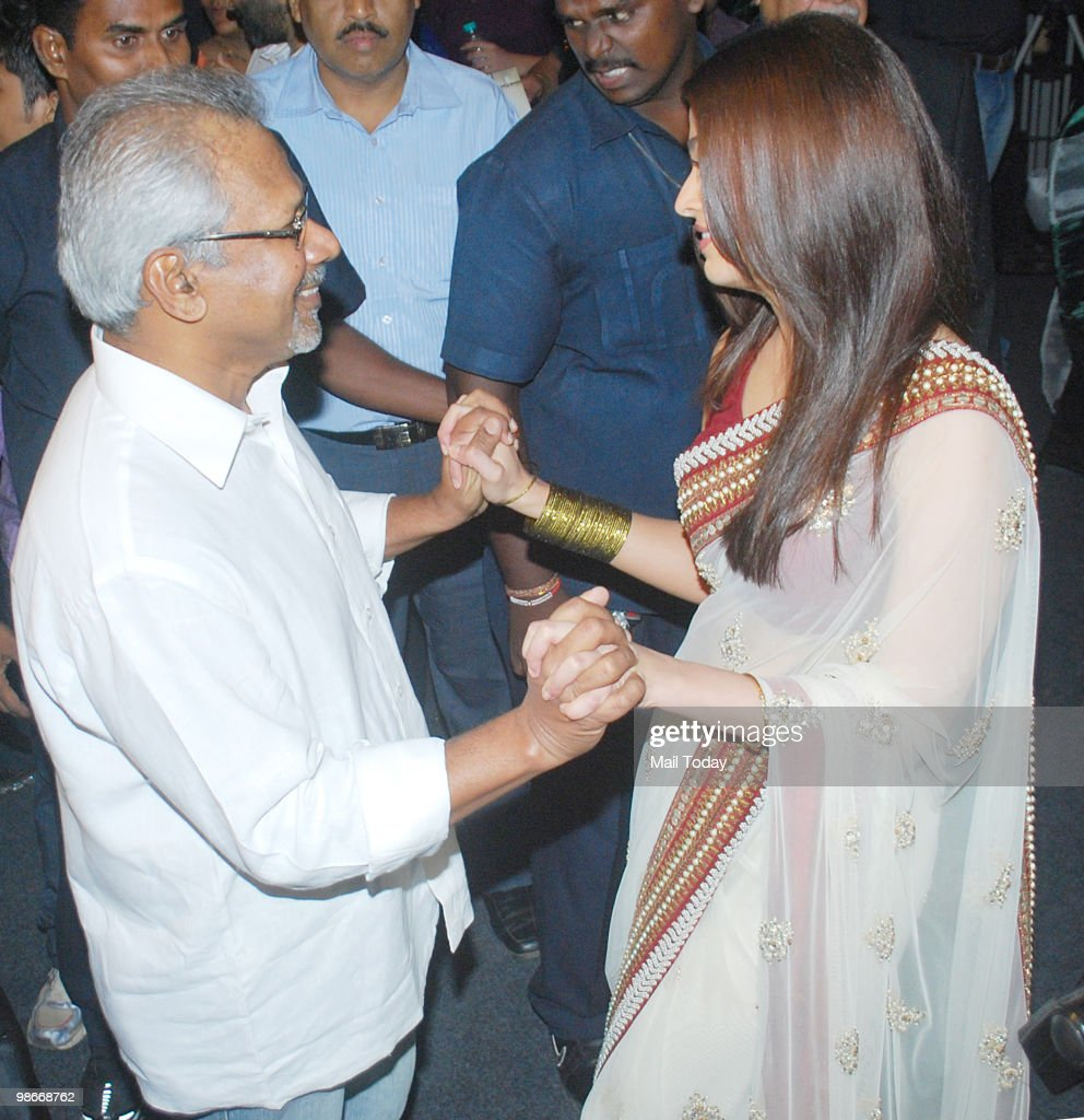 Aishwarya Rai Bachchan has a word with director Mani Ratnam at the music launch of the film Raavan in Mumbai on April 24 2010