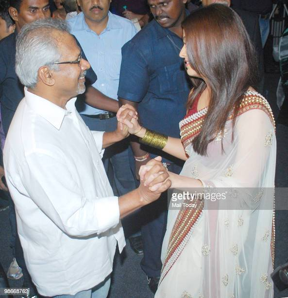Aishwarya Rai Bachchan has a word with director Mani Ratnam at the music launch of the film Raavan in Mumbai on April 24 2010