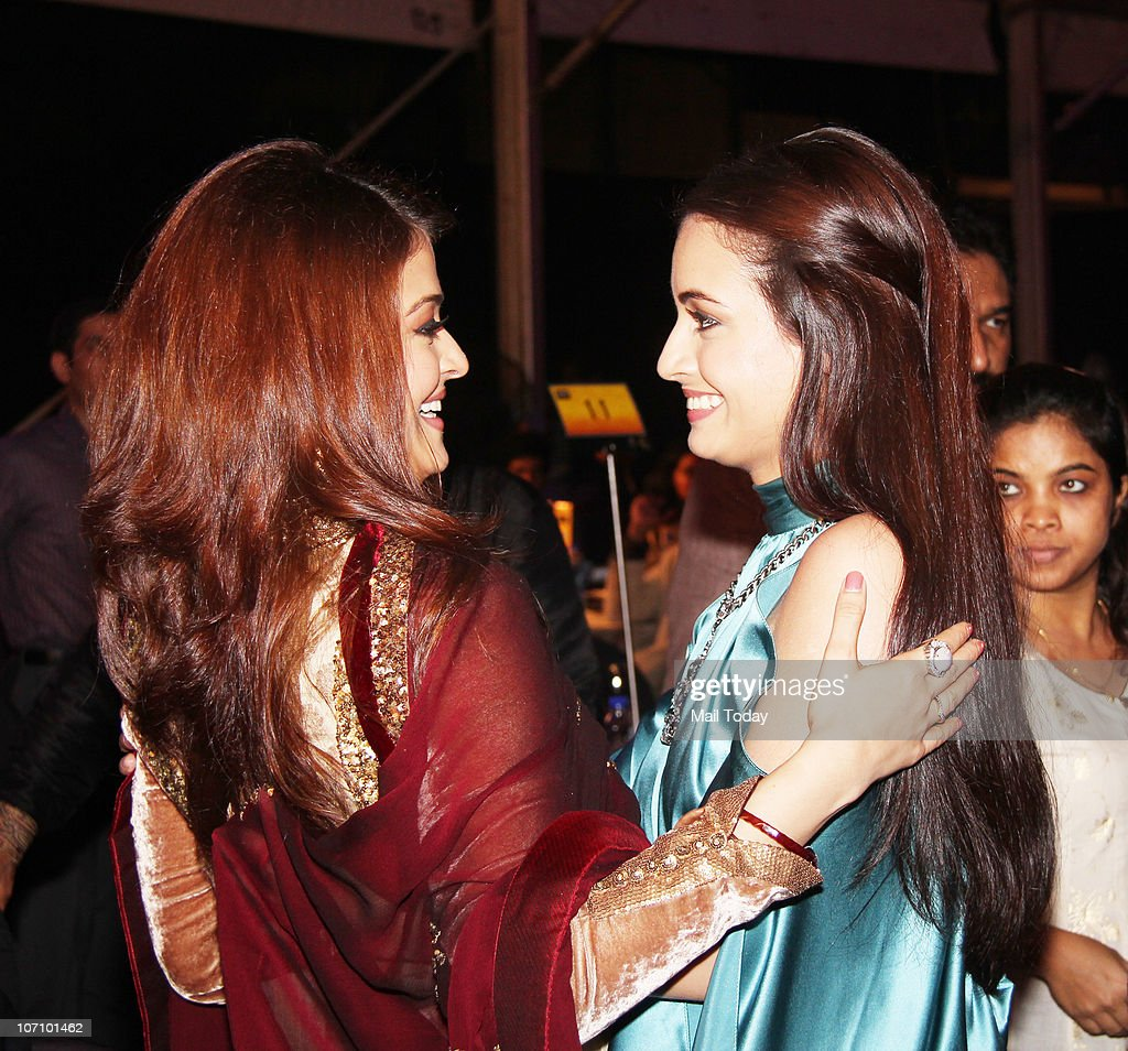 Aishwarya Rai Bachchan hugs Diya Mirza at the Teacher`s Achievement awards in Mumbai on November 21 2010