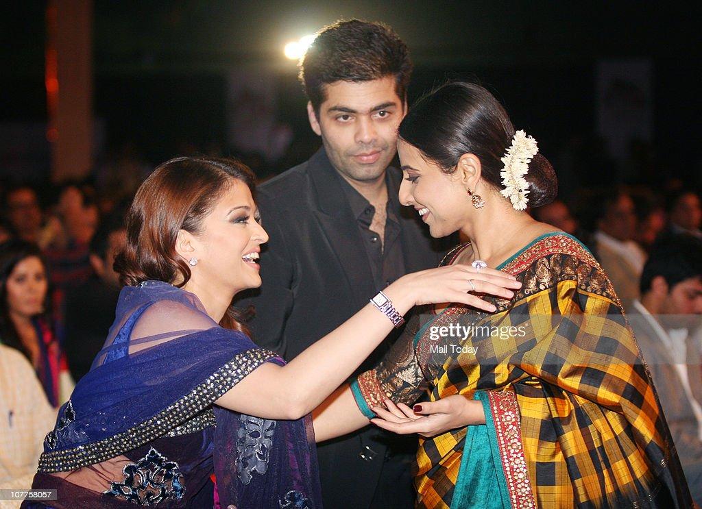 Aishwarya Rai Bachchan Karan Johar and Vidya Balan at BIG STAR Entertainment Awards `10` at Bhavan`s Ground Andheri on December 21 2010