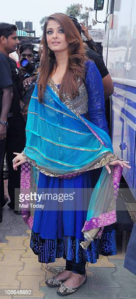Aishwarya Rai Bachchan on the sets of a TV show in Mumbai on October 16 2010