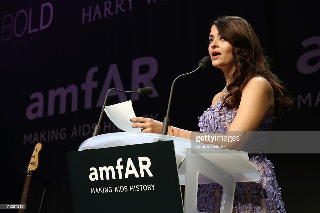 Aishwarya Rai Bachchan onstage during amfAR's 22nd Cinema Against AIDS Gala Presented By Bold Films And Harry Winston at Hotel du CapEdenRoc on Ma