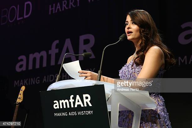 Aishwarya Rai Bachchan onstage during amfAR's 22nd Cinema Against AIDS Gala Presented By Bold Films And Harry Winston at Hotel du CapEdenRoc on May...