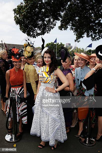 Aishwarya Rai Bachchan poses with the Longines Prize for Excellence competitors during Queen Elizabeth Stakes Day at Royal Randwick Racecourse on...