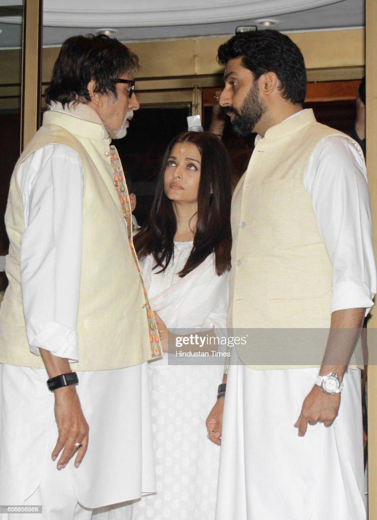 Aishwarya Rai Bachchan with fatherinlaw Amitabh Bachchan and husband Abhishek Bachchan during prayer meeting of her father at hotel Taj Lands End...