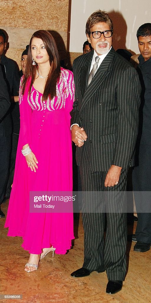 Aishwarya Rai Bachchan with fatherinlaw Amitabh Bachchan at the wedding reception of Bollywood actress Shilpa Shetty in Mumbai on Tuesday November 24.