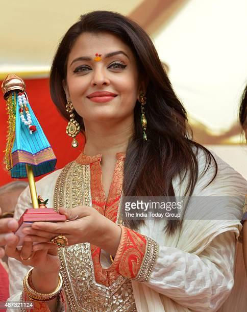 Aishwarya Rai celebrates Gudi Padwa at Juhu Chowpatty in Mumbai