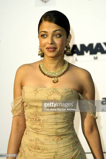 Aishwarya Rai during 2003 Cannes Film Festival Cinema Against Aids 2003 to benefit amfAR sponsored by Miramax Arrivals at Le Moulin de Mougin in...