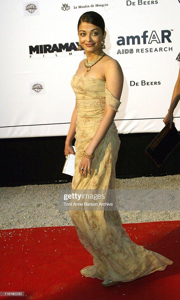 Aishwarya Rai during 2003 Cannes Film Festival Cinema Against Aids 2003 to benefit amfAR sponsored by Miramax Arrivals at Le Moulin de Mougin in...