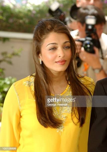 Aishwarya Rai during 2003 Cannes Film Festival Jury Photo Call at Terrasse Riviera in Cannes France