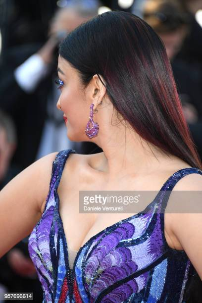 Aishwarya Rai earring detail attends the screening of 'Girls Of The Sun ' during the 71st annual Cannes Film Festival at Palais des Festivals on May...
