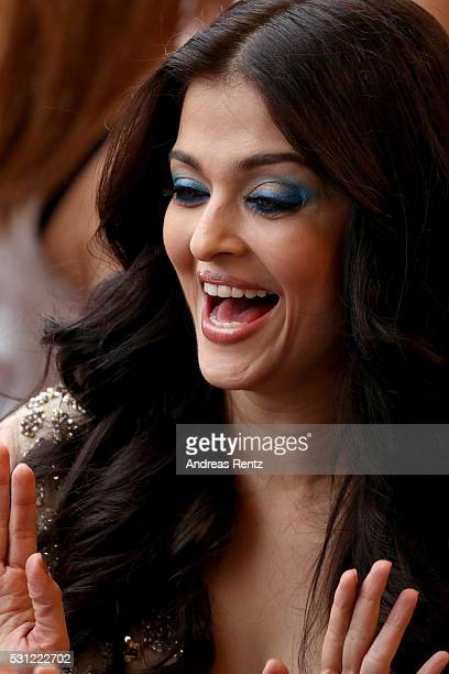 Aishwarya Rai makeup detail attends the 'Slack Bay ' premiere during the 69th annual Cannes Film Festival at the Palais des Festivals on May 13 2016...
