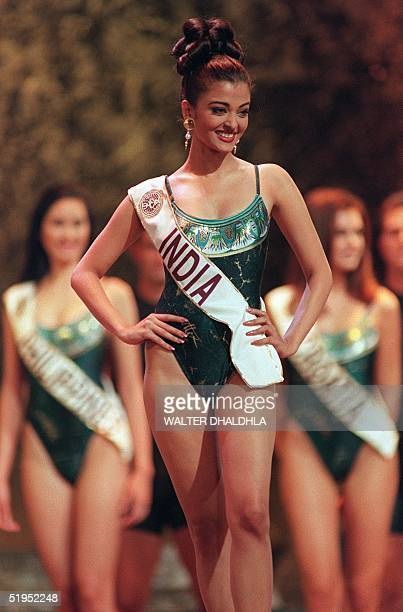 Aishwarya Rai of India competes in the swimsuit parade during the finals for Miss World 1994 in Sun City 20 November 1994