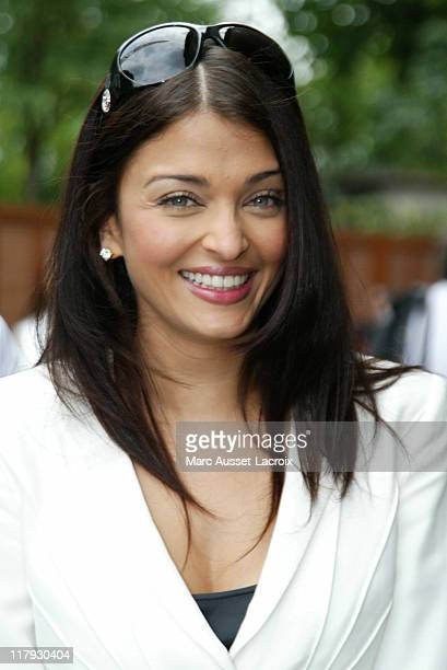 Aishwarya Rai poses in the 'Village' the VIP area of the 2007 French Open at Roland Garros arena in Paris France on June 5 2007