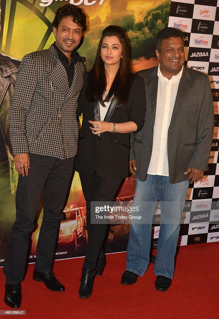 Aishwarya Rai Sanjay Gupta and Irfan Khan at the trailer of their upcoming movie `Jazbaa in Mumbai