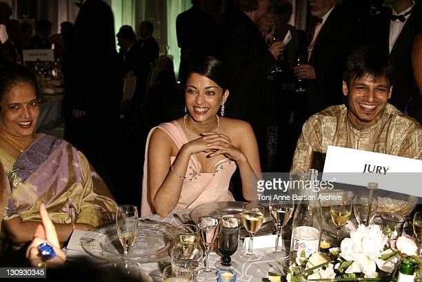Aishwarya Rai wearing jewelry by Chopard during 2003 Cannes Film Festival Closing Ceremony Dinner at Palais Des Festival in Cannes France